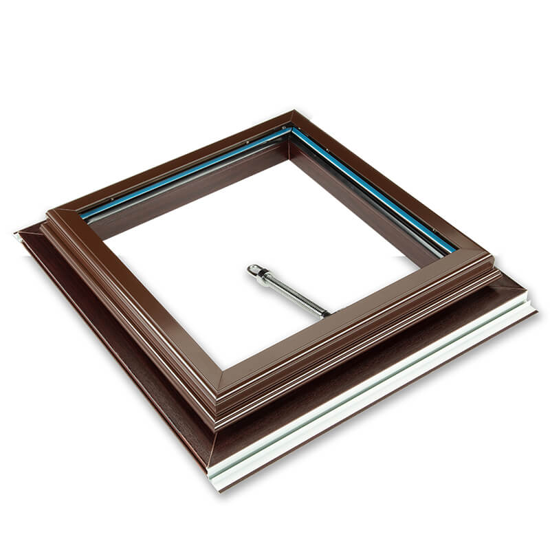 1000mm x 1000mm Glazed 25mm Opal Multiwall Rosewood Roof Vent  image